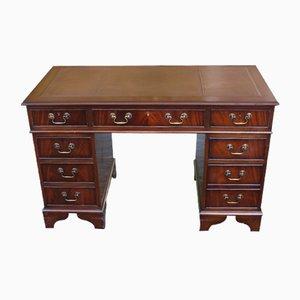 Mahagoni Furnier Schreibtisch mit hellbraunem Leder, 1960er