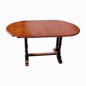 Slim Oak Drawleaf Table with 1 Leaf, 1940s