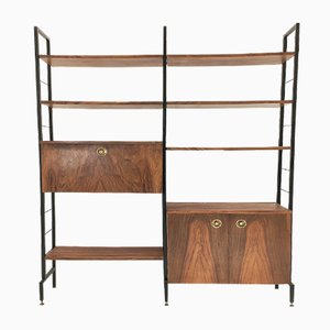 Vintage Shelf in Walnut and Lacquered Metal with Height-Adjustable Containers and Shelves, Spain, 1960s