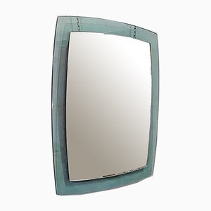 Italian Mid-Century Modern Green Irregular Mirror with Chromed Details, 1970s