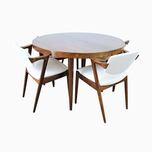 Mid-Century Rosewood Extending Dining Table & Model 42 Dining Chairs by Kai Kristiansen, Set of 5