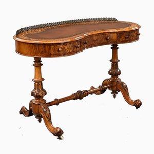 Viktorianischer nierenförmiger Schreibtisch aus Nusswurzelholz