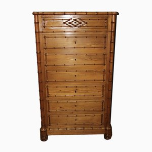 Bamboo Secretaire in Cherry and Pine, 19th Century