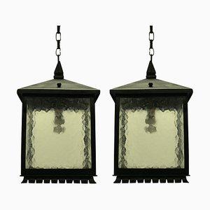 Linternas cuadradas Mid-Century de hierro forjado. Juego de 2