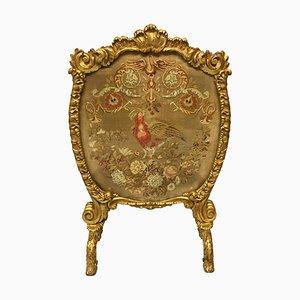 Großer George III Kaminschirm aus vergoldetem Holz