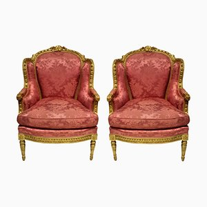 Louis XVI Bergere Armchairs, Set of 2