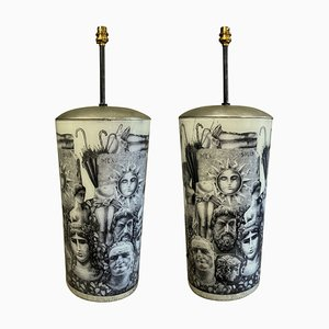 Large Eglomise Lamps in the Style of Fornasetti, Set of 2