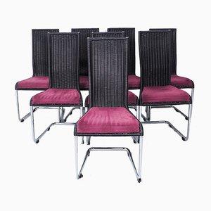B25 Kragstuhl Esszimmerstühle in Schwarz von Tecta, 1990er, 8er Set