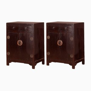 Mid-Sized Dark Lacquered Cabinets, Set of 2