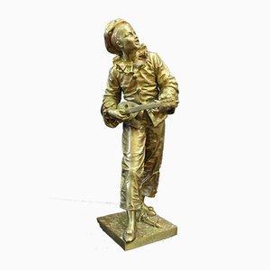Bronze Pierrot im Mondschein von Eutrope Bouret, 19. Jh