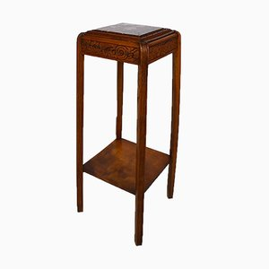 Art Deco Pedestal Table in Carved Wood with Marble Top, France, 1920s
