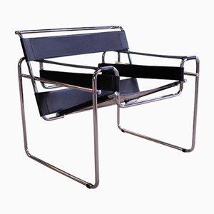 Wassily B3 Armlehnstuhl aus Chrom & schwarzem Leder von Marcel Breuer, Italien
