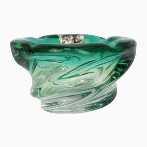 Smaragdgrüner Tafelaufsatz aus Kristallglas von Scailmont