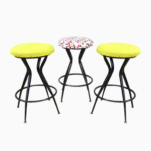 Metal and Fabric Stools, Italy, 1960s, Set of 3