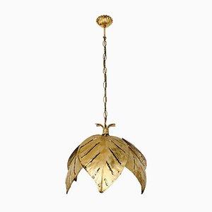 Hollywood Regency Gilded Palm Leaf Chandelier by Hans Kögl, 1970s