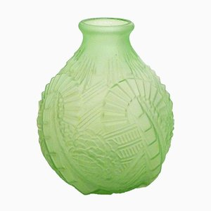 Large Art Deco Vase in Green