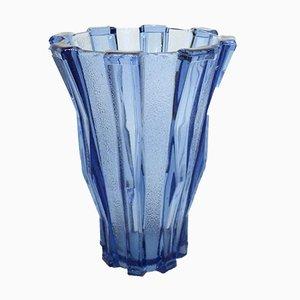 Art Deco Lux Val Vase in Blue from Val Saint Lambert
