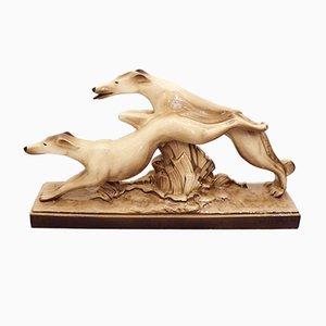 Art Deco Greyhound Sculpture by C. Lemanceau