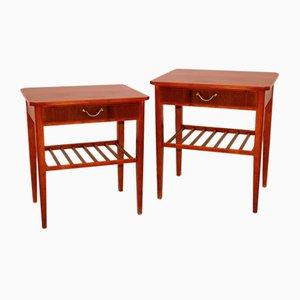 Swedish Mahogany Bedside Tables, 1960s, Set of 2