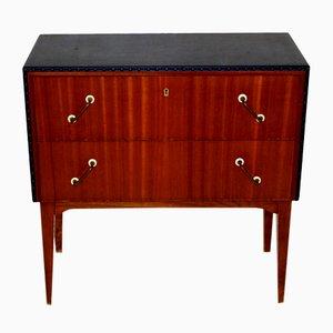 Dresser in Teak and Imitation Leather, Sweden, 1950s