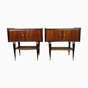 Mid-Century Polished Bedside Tables, Italy, 1970s, Set of 2