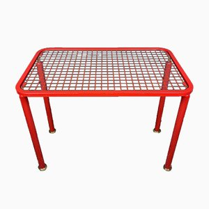 Mid-Century Red Metal Coffee Table, Italy, 1960s
