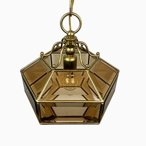 Vintage Diamond Hex Crystal Pendant Lamp in Golden Brass, Italy, 1960s