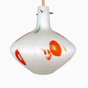 Lampe à Suspension Mid-Century en Verre de Murano Opalin Multicolore de Stilnovo, Italie, 1950s