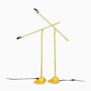 Mid-Century Industrial Yellow Floor Lamps, Yugoslavia, 1960s, Set of 2