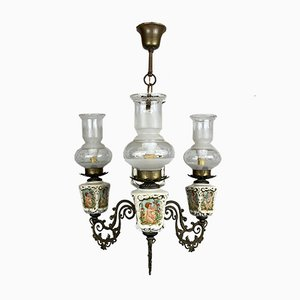 Vintage Porcelain & Brass Chandelier with 3 Lights, Italy, 1950s