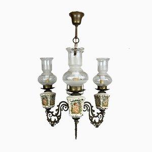 Vintage Porzellan & Messing Kronleuchter mit 3 Leuchten, Italien, 1950er