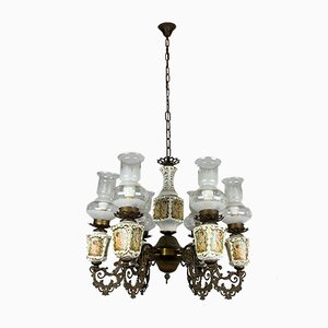 Large Vintage Porcelain & Brass Chandelier with 6 Lights, Italy, 1950s