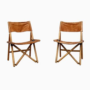 Leather Navy Folding Chairs by Sergio Asti for Zanotta, 1970s, Set of 2