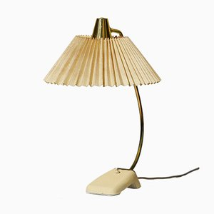 Mid-Century Table Lamp in Brass with Pleated Shade & Shrink Varnish Base from Cosack