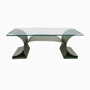 Coffee Table in Steel and Glass by Francois Monnet for Kappa, 1970s