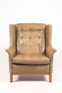 Mid-Century Swedish Lounge Chair in Patinated Leather by Arne Norell for Norell Möbel AB