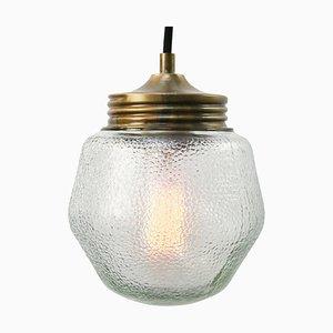 Lampe à Suspension Industrielle Vintage en Verre Givré et Laiton