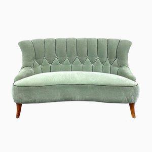 Swedish Green Velvet Sofa, 1940s