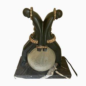 Art Déco Pierrot & Columbine Tischlampe