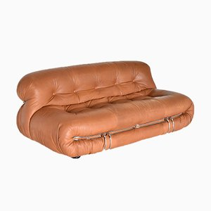 2-Seater Soriana Sofa in Original Leather by Afra and Tobia Scarpa for Cassina, 1970s