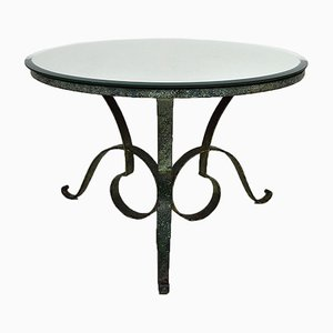 Circular Wrought Iron & Beveled Mirror Table Attributed to Raymond Subes, 1935