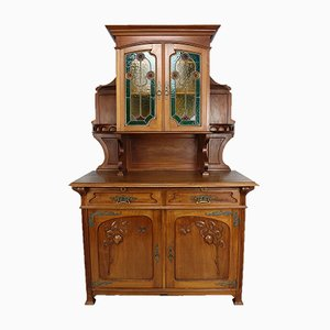 Art Nouveau Buffet in Carved Mahogany with Stained Glass, 1900s