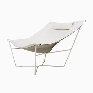 Weißer 501 Semana Stuhl aus Leder & Stahl von David Weeks für Habitat UK