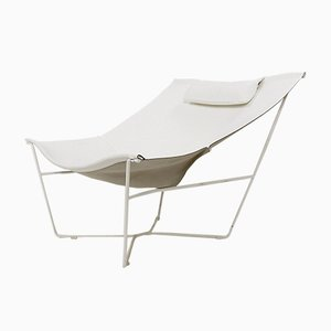 White Leather and Steel 501 Semana Chair by David Weeks for Habitat UK
