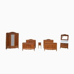 Französische Jugendstil Schlafzimmermöbel aus Massiver Geschnitzter Eiche, 5er Set