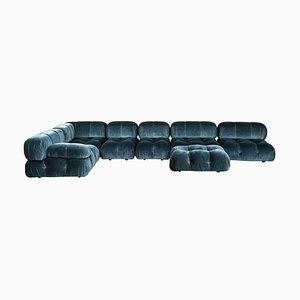 Blaues modulares Camaleonda Sofa aus Samt von Mario Bellini für B&B Italia / C&B Italia, 1976, 7er Set