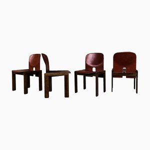 Model 121 Dining Chairs in English Red Leather and Walnut by Afra and Tobia Scarpa for Cassina, 1967, Set of 10
