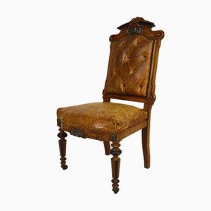 Napoleon III Chair in Walnut, Leather and Marble, 1860s