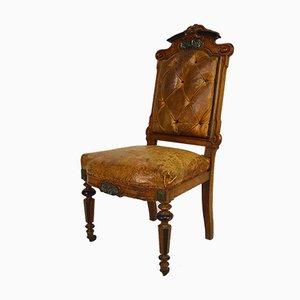 Napoleon III Stuhl aus Nussholz, Leder und Marmor, 1860er
