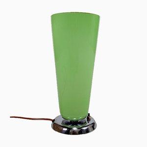 Art Deco Lampe aus Chrom und Seladongrünem Glas, Frankreich, 1930er